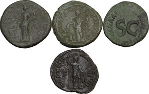 reverse: The Roman Empire.. Multiple lot of four (4) unclassified AE Asses and Dupondius