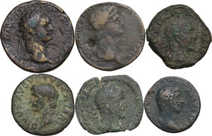 obverse: The Roman Empire. Multiple lot of six (6) unclassified AE denominations, including: Divus Augustus, Hadrian, Domitian and Philip I