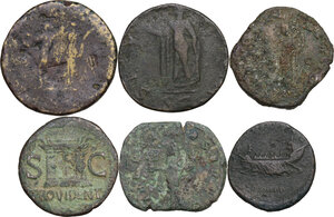 reverse: The Roman Empire. Multiple lot of six (6) unclassified AE denominations, including: Divus Augustus, Hadrian, Domitian and Philip I