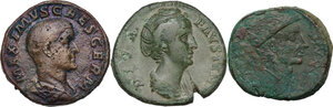 obverse: The Roman Empire. Multiple lot of three (3) AE Sestertii, including Faustina I and Maximus,
