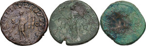 reverse: The Roman Empire. Multiple lot of three (3) AE Sestertii, including Faustina I and Maximus,