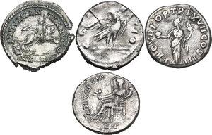 reverse: The Roman Empire. Multiple lot of four (4) AR Denarii, including: Septimius Severus, Marcus Aurelius, Vespasian
