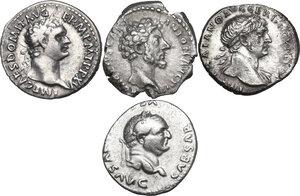 obverse: The Roman Empire.. Multiple lot of four (4) AR Denarii, including: Trajan, Domitian, Vespasian and Marcus Aurelius