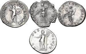 reverse: The Roman Empire.. Multiple lot of four (4) AR Denarii, including: Trajan, Domitian, Vespasian and Marcus Aurelius