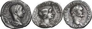 obverse: The Roman Empire.. Multiple lot of three (3) unclassified AR Denarii