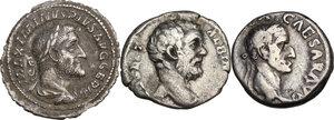 obverse: The Roman Empire. Multiple lot of three (3) AR Denarii, including: Galba, Maximinus Thrax and Clodius Albinus