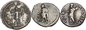 reverse: The Roman Empire. Multiple lot of three (3) AR Denarii, including: Galba, Maximinus Thrax and Clodius Albinus