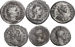 obverse: The Roman Empire. Multiple lot of six (6) unclassified AR Denominations, including: Geta, Claudius II, Postumus, Gordian III and Probus
