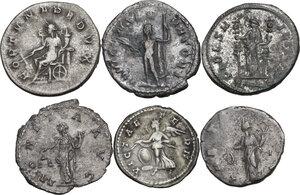 reverse: The Roman Empire. Multiple lot of six (6) unclassified AR Denominations, including: Geta, Claudius II, Postumus, Gordian III and Probus