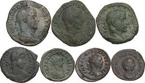 obverse: The Roman Empire.. Multiple lot of seven (7) AE denominations, including: Gordian III, Trebonianus Gallus, Philip II, Numerian, Constantius II, Salonina and Tacitus