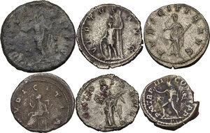 reverse: The Roman Empire. Multiple lot of six (6) unclassified denominations, including 5 AR coins of Elagabalus, Salonina, Gordian III, Valerian and Herennia Etruscilla, and 1 AE Follis of Galeria Valeria