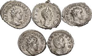 obverse: The Roman Empire.. Multiple lot of five (5) unclassified AR Antoninianii