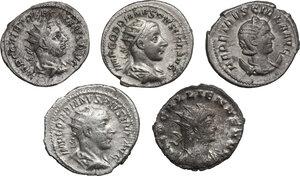 obverse: The Roman Empire.. Multiple lot of five (5) Antoniniani. Including Gordian (2), Etruscilla, Trebonianus Gallus and Gallienus