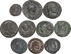 obverse: The Roman Empire. Lot of 10 unclassified AE denominations, including: Aurelian, Gratian and Constantine I