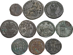 reverse: The Roman Empire. Lot of 10 unclassified AE denominations, including: Aurelian, Gratian and Constantine I