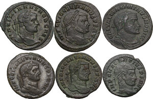 obverse: The Roman Empire.. Multiple lot of six (6) AE Folles, including: Diocletian, Maximian, Maximinus and Maxentius
