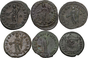 reverse: The Roman Empire.. Multiple lot of six (6) AE Folles, including: Diocletian, Maximian, Maximinus and Maxentius