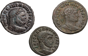 obverse: The Roman Empire.. Multiple lot of three (3) AE Folles of Maximian (2) and Maxentius