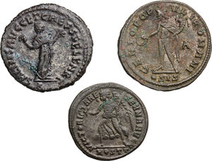 reverse: The Roman Empire.. Multiple lot of three (3) AE Folles of Maximian (2) and Maxentius