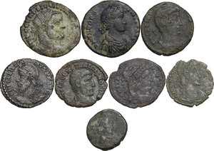 obverse: The Roman Empire. Multiple lot of eight (8) unclassified AE denominations, including: Diocletian, Constantine I, Theodosius I and Julian II