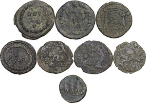 reverse: The Roman Empire. Multiple lot of eight (8) unclassified AE denominations, including: Diocletian, Constantine I, Theodosius I and Julian II