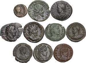 obverse: The Roman Empire. Multiple lot of ten (10) unclassified AE denominations, including: Victorinus, Constantine II, Licinius, Gratian, Valentinian and Valens