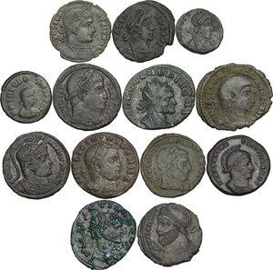 obverse: The Roman Empire.. Multiple lot of thirteen (13) AE denominations, including: Claudius II, Julian II, Licinius I, Constantius II, Theodosius and Honorius