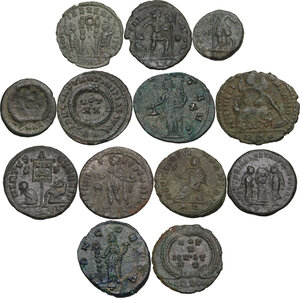 reverse: The Roman Empire.. Multiple lot of thirteen (13) AE denominations, including: Claudius II, Julian II, Licinius I, Constantius II, Theodosius and Honorius