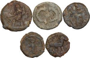 obverse: The Roman Empire.. Multiple lot of five (5) unclassified PB Tesserae