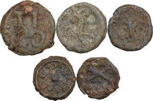 reverse: The Roman Empire.. Multiple lot of five (5) unclassified PB Tesserae