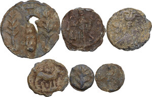 obverse: The Roman Empire.. Multiple lot of six (6) unclassified PB Tesserae