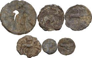 reverse: The Roman Empire.. Multiple lot of six (6) unclassified PB Tesserae