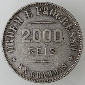 reverse: Brasile. Repubblica. 2000 Reis 1910. Ag.
