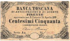 obverse: Banconote. Banca Toscana di Anticipazioni e Sconto. 50 Centesimi. Decreto 24 Aprile 1870.