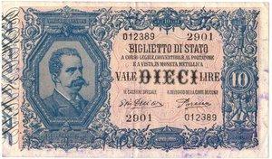 obverse: Banconote. Regno D italia. 10 lire Effige di Umberto I. 29-7-1918.