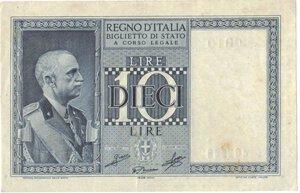 obverse: Banconote. Regno D italia. 10 lire Impero. 1939 XVIII. Gig. BS18c.