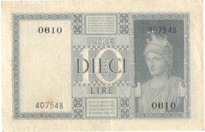 reverse: Banconote. Regno D italia. 10 lire Impero. 1939 XVIII. Gig. BS18c.