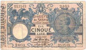 obverse: Banconote. Regno d Italia. 5 Lire. 17/06/1915. Gig. BS 12d.