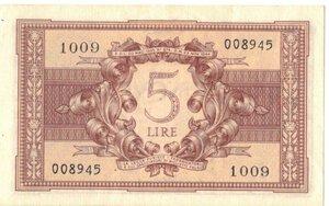 reverse: Banconote. Regno D italia. 5 lire Atena Elmata. 23/11/1944.
