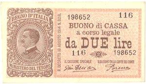 obverse: Banconote. Regno D Italia. Buono di Cassa da 2 lire. Crapanzano BS13.
