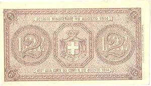 reverse: Banconote. Regno D Italia. Buono di Cassa da 2 lire. Crapanzano BS13.