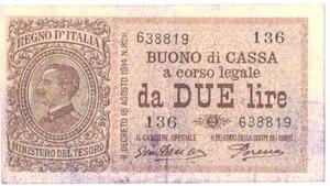 obverse: Banconote. Regno d Italia. Buono di cassa da 2 lire. Dec. Min. 17-10-1921.