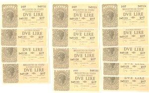 obverse: Banconote. Regno d Italia. Luogotenenza. Lotto di 13 banconote consecutive da 2 lire. Dec. Min. 23-11-1944.