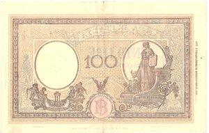 reverse: Banconote. Repubblica Sociale Italiana. 100 lire Grande B. (B.I.) Dec.Min. 8 Ottobre 1943.