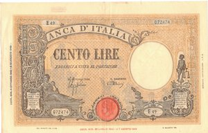 obverse: Banconote. Repubblica Sociale Italiana. 100 lire Grande B. (B.I.) Dec.Min. 8 Ottobre 1943.
