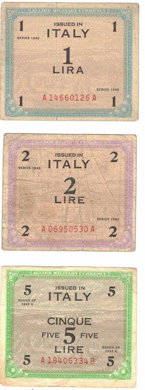 obverse: Banconote. Occupazione americana in Italia. Lotto di 3 banconote da 1, 2 e 5 Am Lire.
