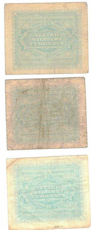 reverse: Banconote. Occupazione americana in Italia. Lotto di 3 banconote da 1, 2 e 5 Am Lire.
