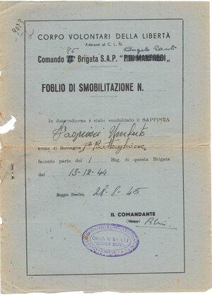 obverse: Banconote. Partigiani. Corpo Volontari della Libertà. Comando 76° Brigata S.A.P.