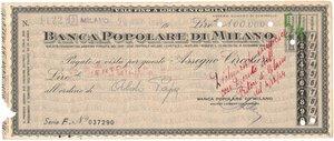 obverse: Banconote. Banca Popolare di Milano. Assegno 100.000 Lire 1944. BB+. Strappi e pieghe. Elevatissimo importo per l epoca.