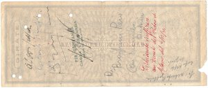 reverse: Banconote. Banca Popolare di Milano. Assegno 100.000 Lire 1944. BB+. Strappi e pieghe. Elevatissimo importo per l epoca.